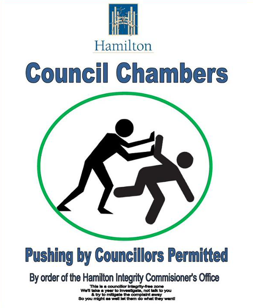 Sign: Pushing by Councillors Permitted (Image Credit: Paul Glendenning)