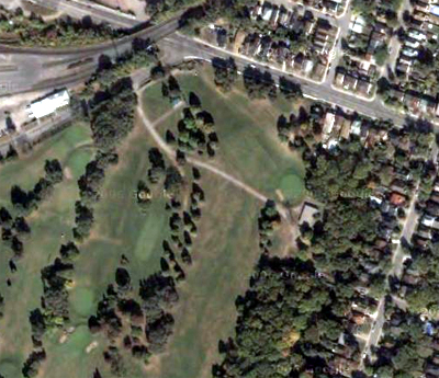 Overhead view from 2006 of the unofficial bike path running from Glenside across Chedoke Golf Course to Studholme