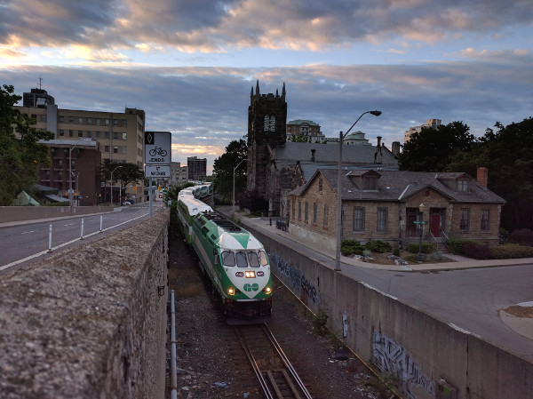 GO Train leaving Hunter Street Station in early morning (RTH file photo)