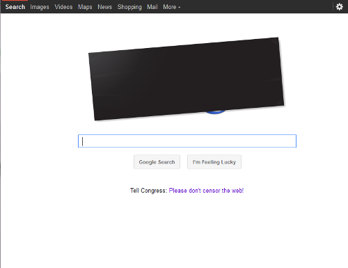 The U.S. Google Home Page has a blacked out logo and a link to learn more about PIPA/SOPA