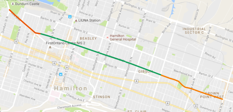 Map: east of cycle track in orange, cycle track in green and west of cycle track in dark orange (Image Credit: Google Maps)