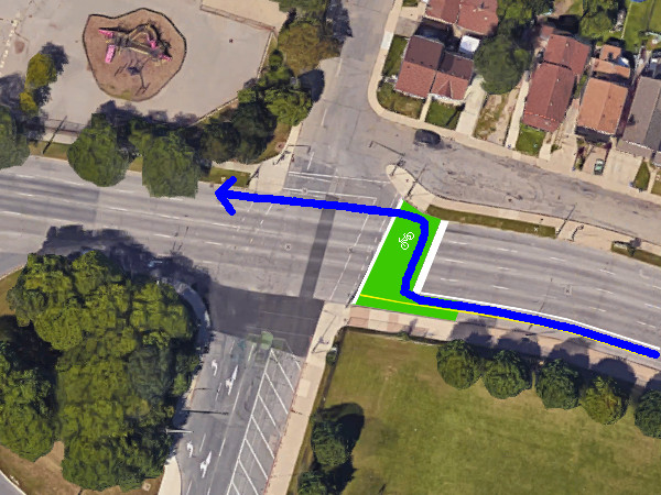 Proposed westbound bicycle route from Cannon to York via bike box (Image Credit: Google Maps)