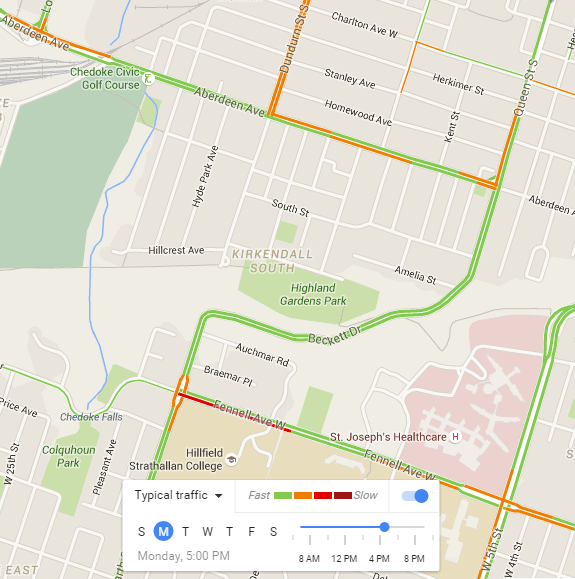 Google Maps Typical Traffic, Monday 5:00 PM