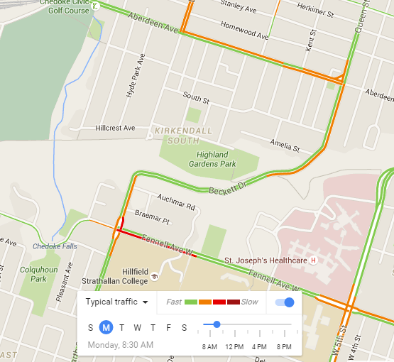 Google Maps Typical Traffic, Monday 8:30 AM