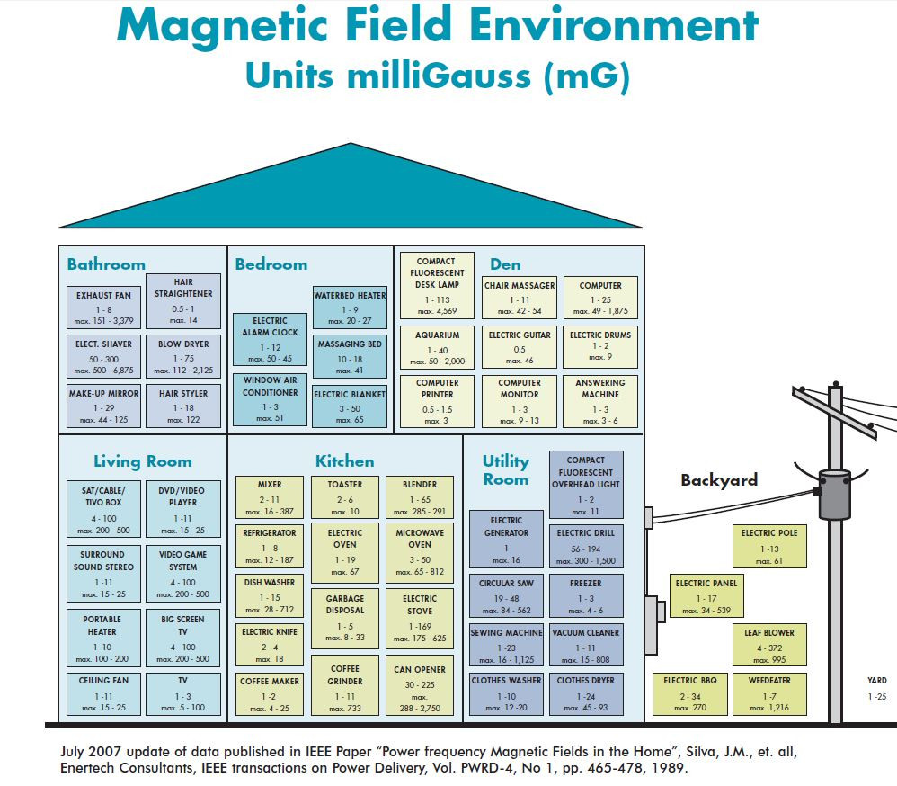 Graphic: Magnetic Field Environment, Units mulliGauss (mG)