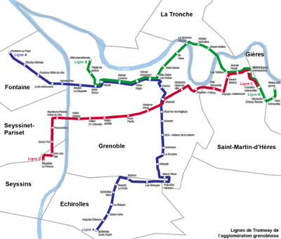 Figure 1: Grenoble's streetcar lines (Image Credit: Wikipedia)