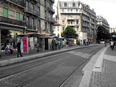 Figure 3: a streetcar station in downtown Grenoble