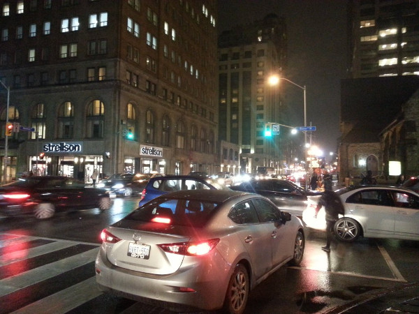 Actual gridlock at Bloor and University, Toronto, during evening rush hour (RTH file photo)