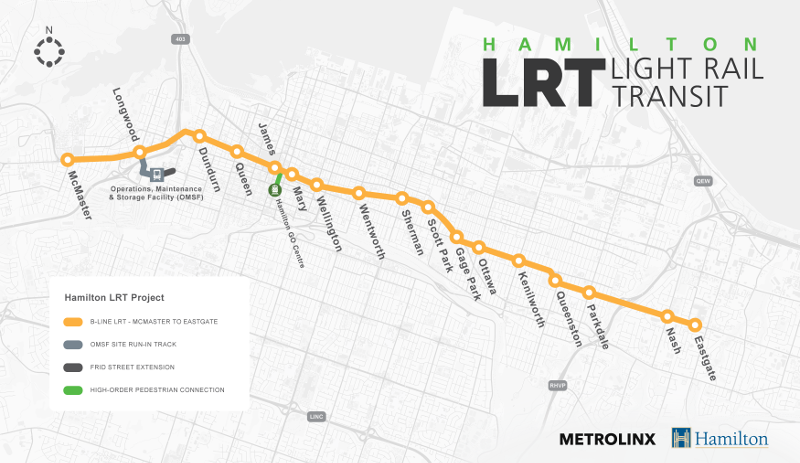 B-Line LRT route with Eastgate extension included
