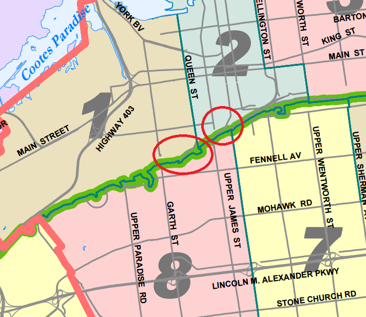 Hamilton Ward Boundaries map detail