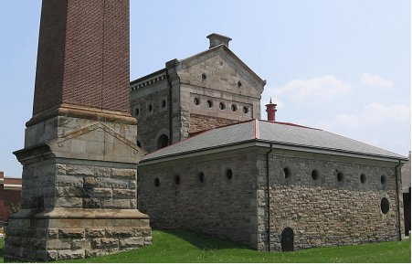 Figure 1: The Hamilton Waterworks: the stone at the base of the chimney is sandstone; the main building stone in the pumphouses is dolomite.