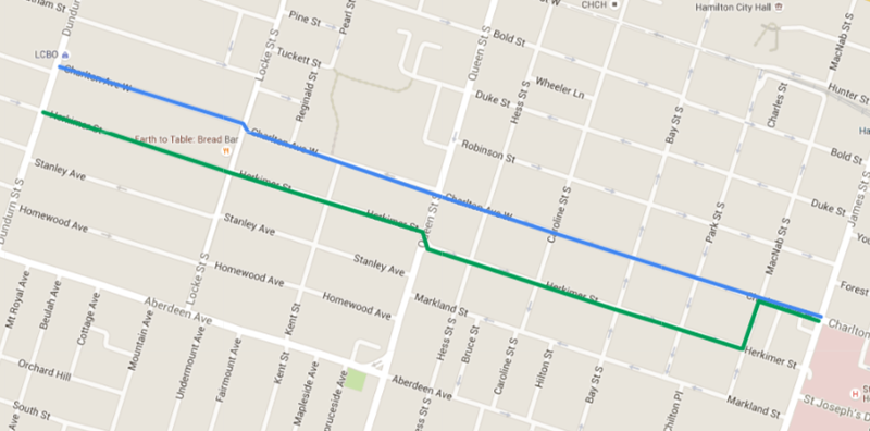 Map: bike lanes on Charlton and Herkimer between Dundurn and James (Image Credit: Google Maps)
