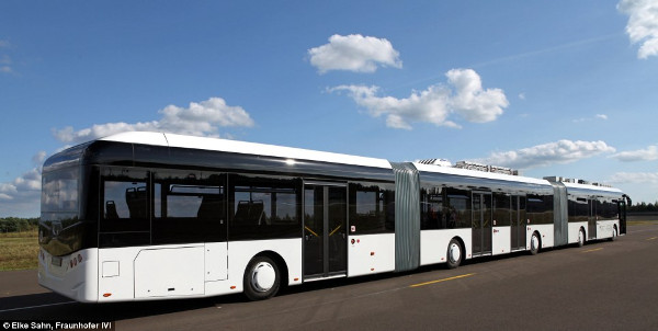 Hess of Switzerland and their Little Tram Bi-articulated Bus Series Prototype, with a length of 30 metres (Image Credit: Hess of Switzerland)
