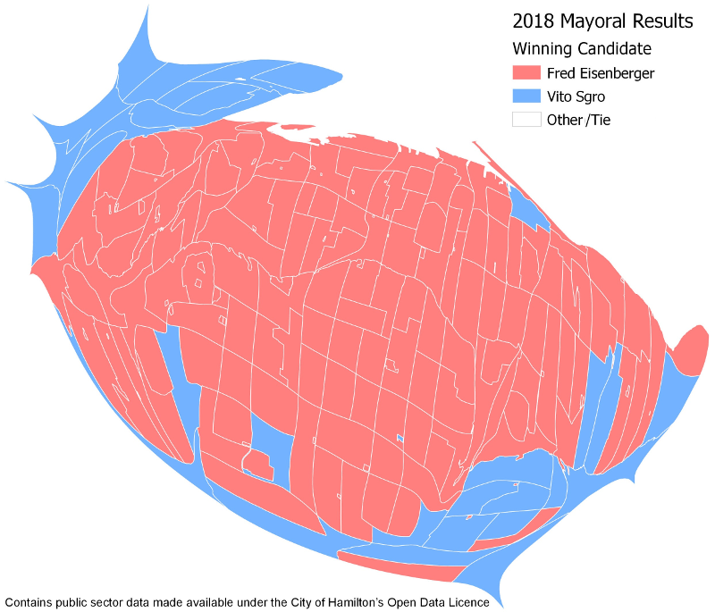 Cartogram of 2018 Mayoral Results by poll (Image Credit: Chris