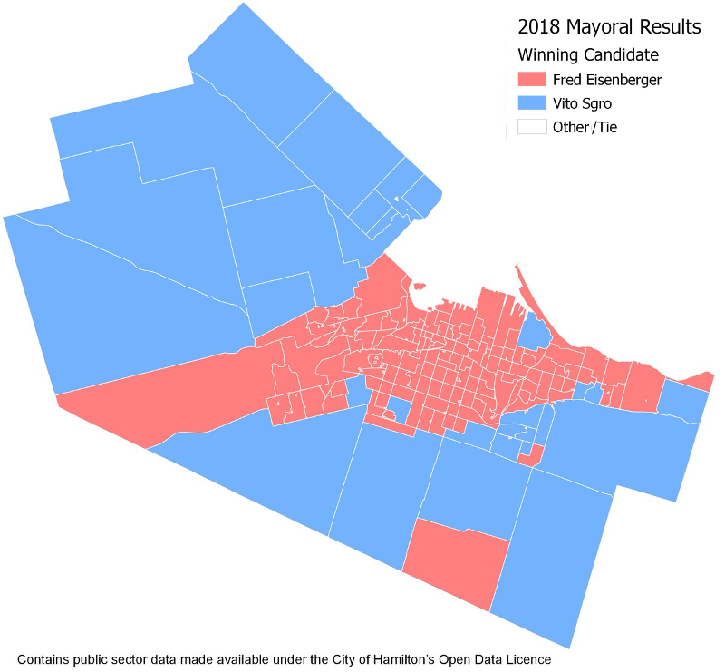 Map of 2018 Mayoral Results by poll (Image Credit: Chris Higgins)