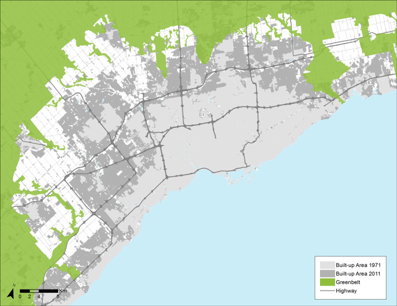Built-up Area, Toronto Census Metropolitan Area (1971 and 2011)