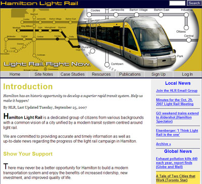Hamilton Light Rail website