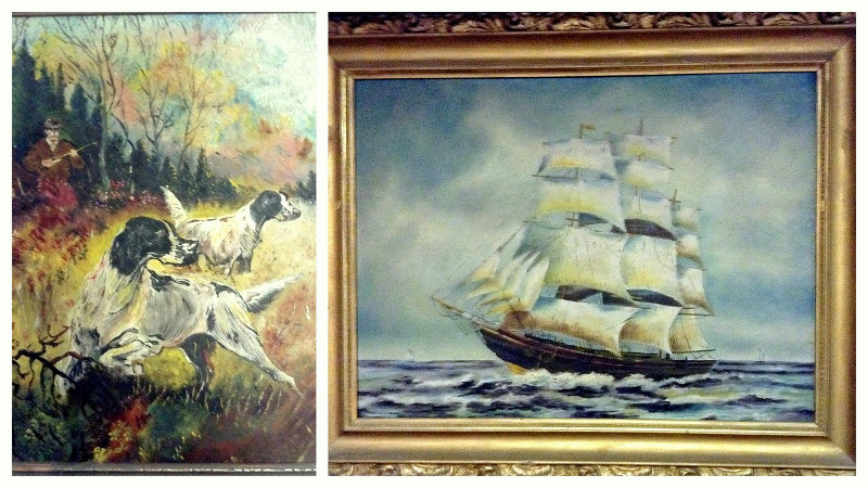 Dennis's grandmother's paintings. The autumn scene on left is a portrait of her husband and their hunting dogs. The ship on the right may have been seen by Mary Ann Sinclair from one of five bustling trading wharves on Lake Ontario. Most everything arrived at that time by water. Early settler life in Ontario was deeply connected to the distant seas, long before railroad and dirt roads criss-crossed the emerging nation.