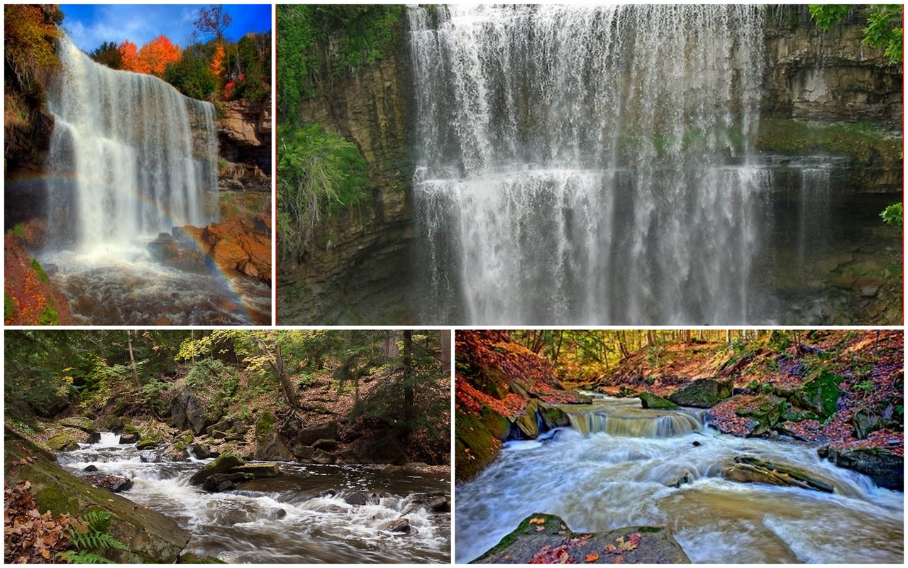 Multi-shots of power-generating Webster Falls and Spencer Creek.