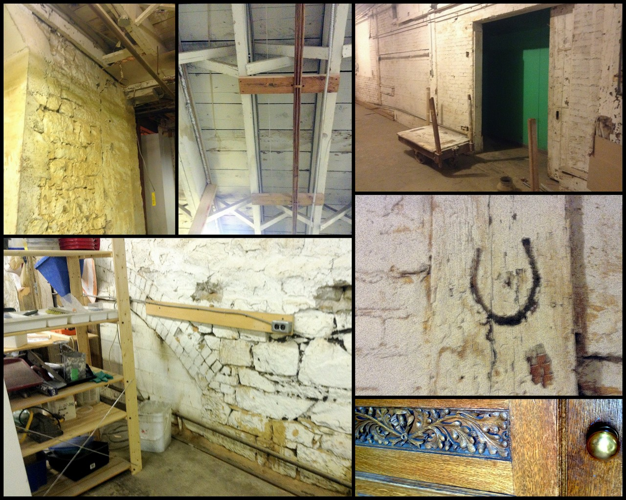 Tagline: (Clockwise) Century old stone walls and wooden ceilings, an elevator shaft, a woodworker's mark, sample of wood-carving in the office area, and traces of the original water-wheel race from the Gartshore foundry are still visible throughout the 'old section' of 64 Hatt Street.