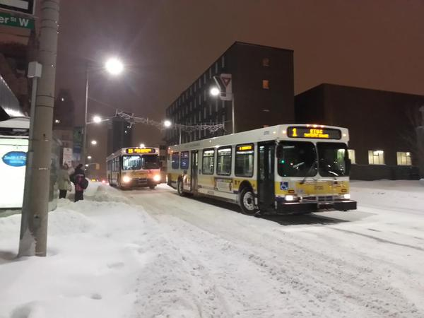 HSR buses at James and Hunter (RTH file photo)