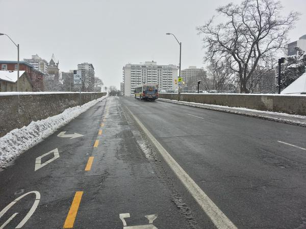 Hunter Street bike lanes cleared of snow on December 11