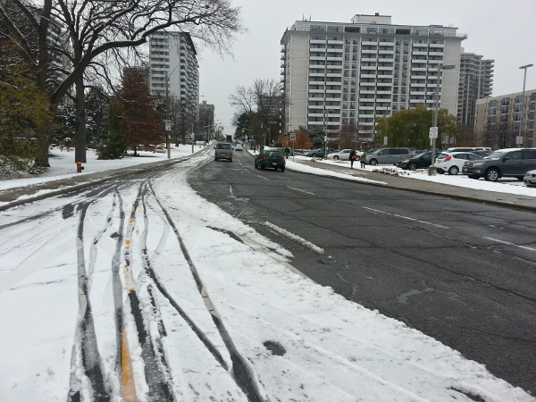 Snow and tire tracks on the Hunter Street bike lanes, November 17, 2014