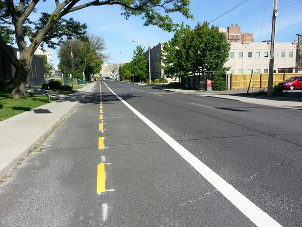 Hunter Street bike lanes, looking west from Walnut