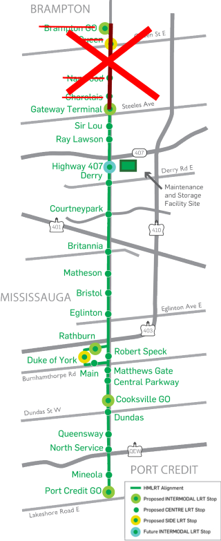 The canceled Brampton section of the Hurontario-Main LRT