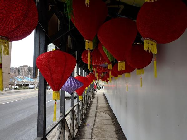 Lanterns celebrating Vietnamese New Year under the hoarding in front of James Baptist Church (RTH file photo)