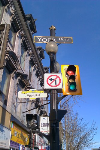 No left turn onto York westbound from James. You can't turn right onto York westbound from James, either. (RTH file photo)