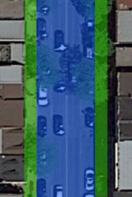 James Street North, just north of Robert Street. Blue  area is dedicated for cars, green area for everything else (Image Credit: Google Maps)