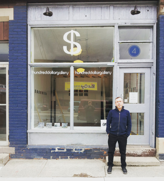 Andrew McPhail standing in front of Hundred Dollar Gallery