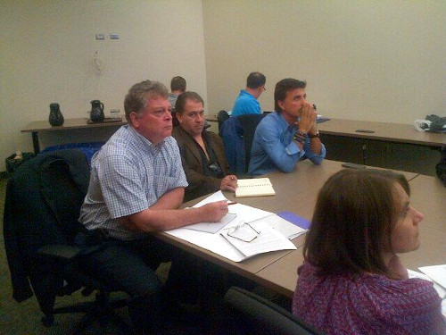(L to R) Grant Milligan, Stanton Renaissance land development director Richard Ramos, and Louie Santaguida at the meeting.