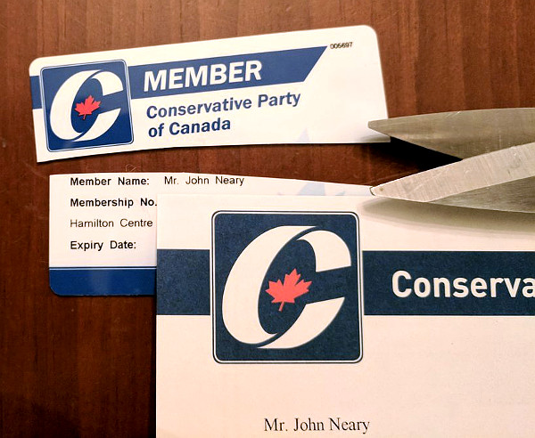 Conservative Party of Canada membership card