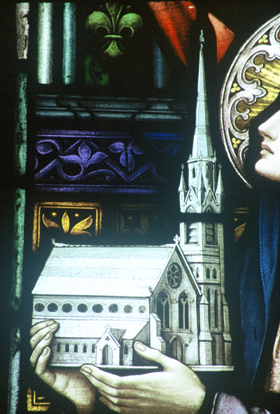 Fig. 3. Kilcullen (Co. Kildare), St Brigid's Roman Catholic Church, detail of stained glass, St Brigid presenting a model of the church to Christ.