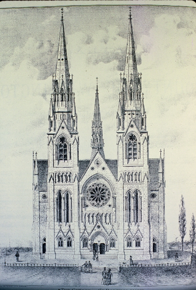 Fig. 10. Guelph, Church of Our Lady (formerly St Bartholomew), façade as planned, from Waterloo and Wellington County Atlas (1877).