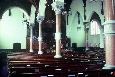 Fig. 15. Hamilton, James Street Baptist Church, interior from aisle.
