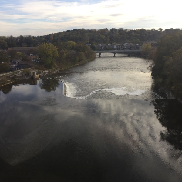 Upstream view of the Wilkes Dam from the Brantford railway bridge
