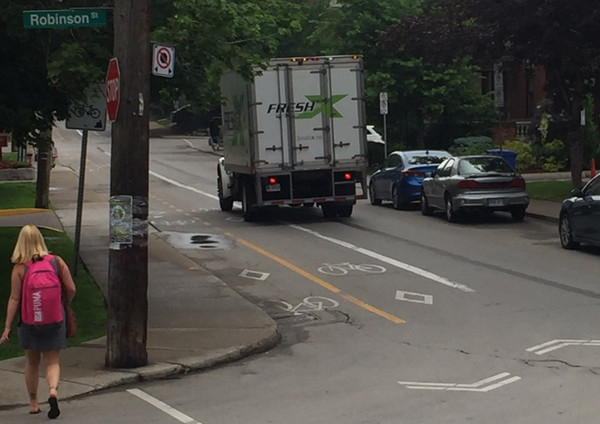 Truck still driving in bike lane
