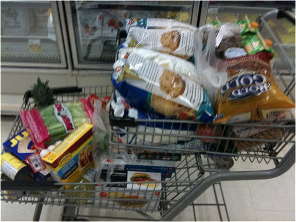 Shopping cart full of groceries
