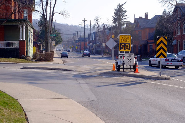 Mobile speed radar at Herkimer and Queen, one of the first locations to get a new PXO (Image Credit: Kirkdendall Neighbourhood Association)