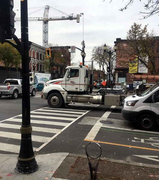 Transport truck blocking the crosswalk at Cannon and James, November 9, 2017 (Image Credit: Dave Kuruc)