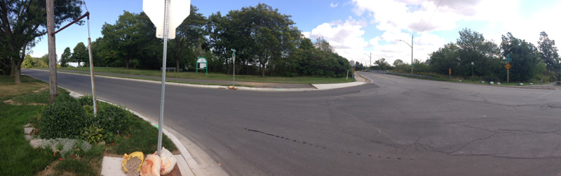 A panoramic view of the intersection at Mountain Brow Boulevard and Mohawk Road