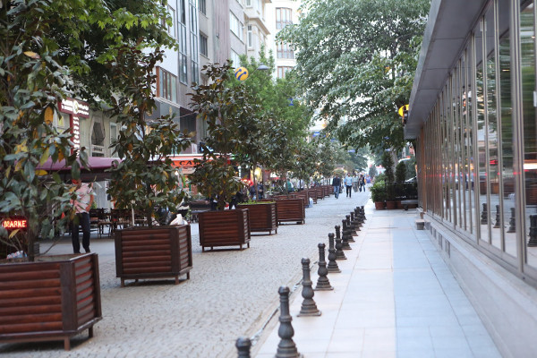 Large tree and flower planters to frame the sidewalk (Image Credit: aRbANEu)