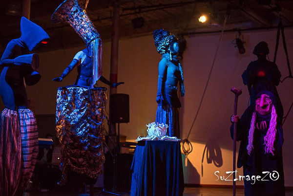 Costumed stilt walkers at La Nuit du Frisson (Image Credit: Suzanne Steenkist)
