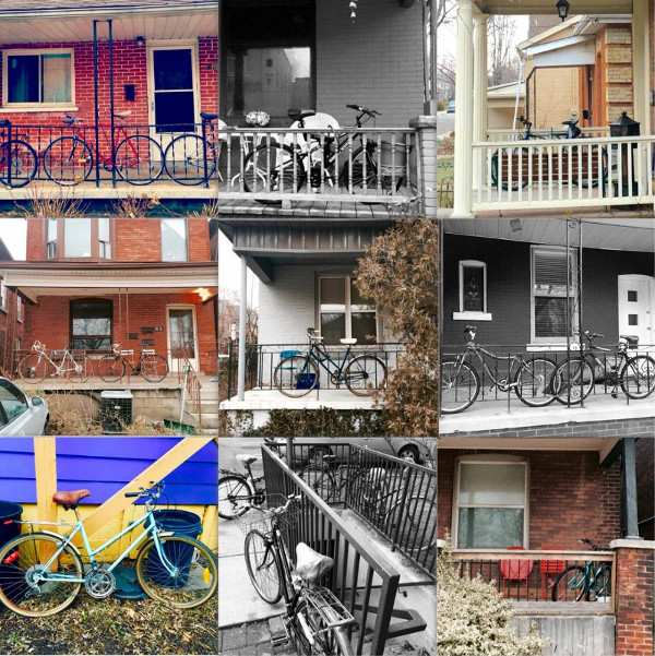 Bikes on porches in Strathcona neighbourhood