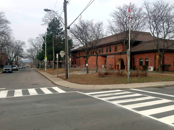 Zebra crossings at Strathcona School, Lamoreaux and Strathcona