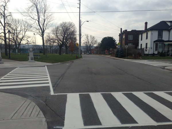 Zebra crossings at Strathcona and Florence