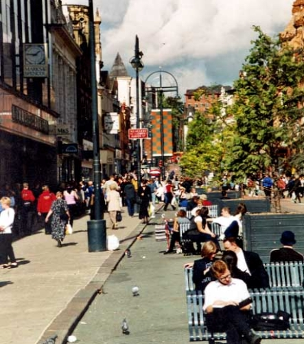 The same street today. Leeds has brought the life back into their downtown and their neighbourhoods.  An image marketing campaign is underway.